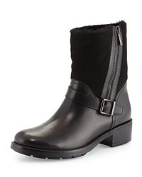 Aquatalia - Blue Saphire Side-Zip Shearling-Lined Ankle Boot - Lyst