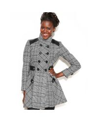 Guess Black Double breasted Plaid A-line Coat