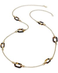 Lauren by Ralph Lauren | Brown 14K Gold-Plated Tortoise Link Illusion Necklace | Lyst