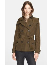 Burberry Brit - Green 'Balmoral' Cropped Trench Coat With Detachable Hood - Lyst