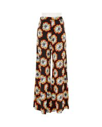 River Island - Red Floral Print Palazzo Pants - Lyst
