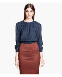 H&M | Blue Jacquardweave Blouse | Lyst
