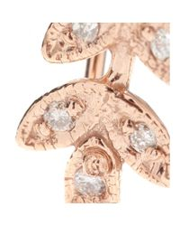 Jacquie Aiche Pink Small Leaf 14kt Rose Gold Ear Cuff with White Diamonds