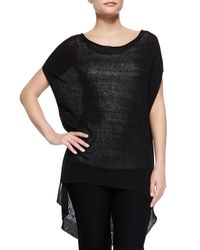 Eileen Fisher - Black Short-sleeve Linen Tunic - Lyst