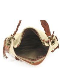 Lucky Brand Brown Ashmore Small Canvas Hobo Bag