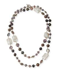 Stephen Dweck Brown Graduated Pearl Necklace With Daisy Stations