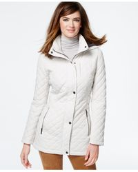 Calvin Klein White Hooded Quilted Jacket