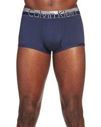 Calvin Klein Blue 'magnetic Force' Microfiber Low Rise Trunks for men