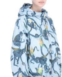 Valentino Blue Nylon Windbreaker With Spider Monkeys Print