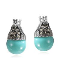 Aeravida | Blue Vintage Flair Marcasite And Turquoise .925 Silver 12mm Earrings | Lyst