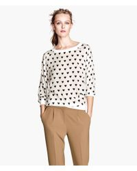 H&M - White Woven Top - Lyst