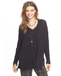 Free People | Black Easy Cable V-neck Sweater | Lyst
