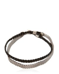Title Of Work - Metallic Chainmail & Leather Bracelet for Men - Lyst