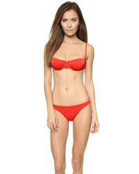 MILLY Red Italian Solid St. Lucia Bikini Bottoms