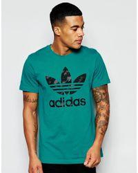 Adidas Originals T-shirt With Trefoil Logo Aj6910 - Green for men