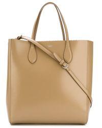 Rochas Brown Scallop Trim Shopper Bag