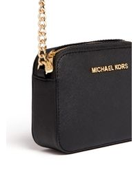 Michael Kors Black 'jet Set Travel' Petite Saffiano Leather Crossbody