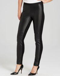 Eileen Fisher Black Leather Front Leggings