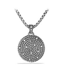 David Yurman - Metallic Cable Coil Small Pendant with Diamonds - Lyst
