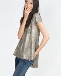 Zara | Metallic T-shirt | Lyst