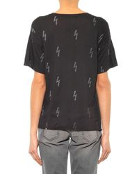 Zoe Karssen Black Lightning-Bolt Print T-Shirt