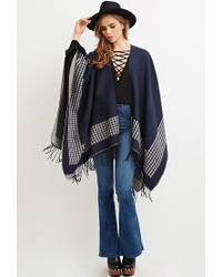 Forever 21 | Blue Houndstooth-patterned Shawl Poncho You've Been Added To The Waitlist | Lyst