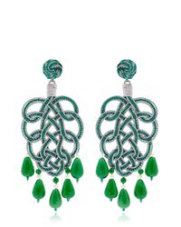 "Anna E Alex | Green ""Pavone"" Earrings 