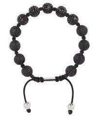 Nialaya | Black Crystal-embellished Beaded Bracelet for Men | Lyst