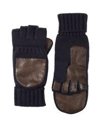Barneys New York - Blue Knit & Leather Convertible Fingerless Gloves for Men - Lyst