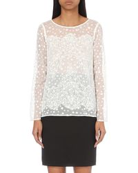 The Kooples | White Plumetis And Floral-lace Top | Lyst