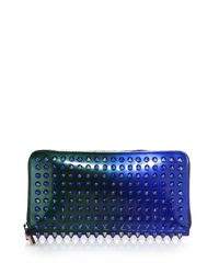 Christian Louboutin | Blue Panettone Studded Metallic Ombre Continental Wallet | Lyst