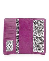 Hobo Purple Vintage Sadie Trifold Leather Wallet