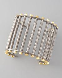 Eddie Borgo Metallic Pave Crystal Grate Cuff Hematite