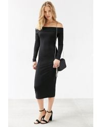 Silence + Noise | Black Off-the-shoulder Long-sleeve Midi Dress | Lyst
