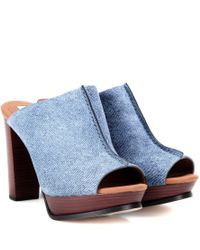 See By Chloé Blue Printed Leather Mules