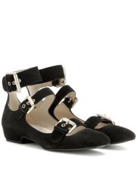 See By Chloé Black Suede Ballerina Sandals