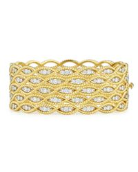 Roberto Coin | Yellow Barocco 18k Wide Diamond Bangle Bracelet | Lyst