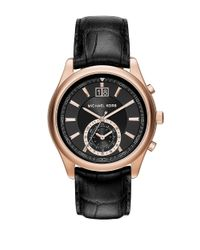Michael Kors | Aiden Rose Goldtone Stainless Steel Black Leather Strap Chronograph for Men | Lyst