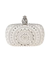 Alexander McQueen White The Skull Studded Leather Box Clutch