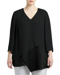 Lafayette 148 New York | Black Ellie Silk Layered Combo Blouse | Lyst