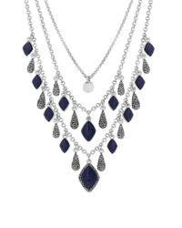 Lucky Brand | Blue Pave Dream Lapis Statement Necklace | Lyst