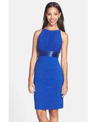 JS Boutique Blue Beaded Waist Ruched Dress