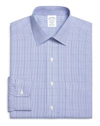 Brooks Brothers - Blue Non-iron Extra-slim Fit Houndstooth Overcheck Dress Shirt for Men - Lyst