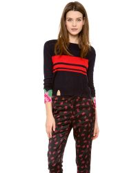 Band of Outsiders - Blue Cashmere Intarsia Crew Neck Sweater - Lyst