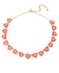 Kate Spade | Pink Beach House Bouquet Small Geranium Necklace- 17 In | Lyst