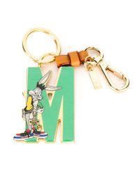 Moschino Green Bugs M Logo Keyring