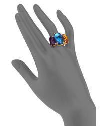 Marco Bicego - Murano Citrine, Amethyst, London Blue Topaz & 18k Yellow Gold Three-stone Ring - Lyst