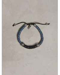 John Varvatos | Braided Blue & Black Leather Bracelet for Men | Lyst