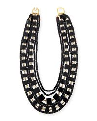 Kenneth Jay Lane | Black Multi-strand Beaded Cube Necklace | Lyst
