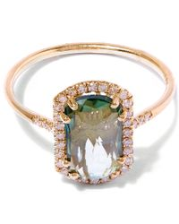 Suzanne Kalan - Metallic Gold Barrel Green Envy Topaz Ring - Lyst